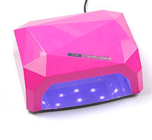 LED Лампа для ногтей маникюра Сушилка гибридная УФ LED+CCFL 36W UKC малиновая