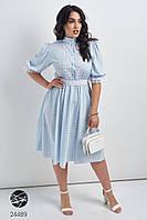 Голубое летнее платье в горошек батал