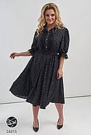 Чёрное платье в горошек миди батал