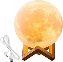 Настільний світильник Місяць 15 см сенсорний 5 кольорів Magic 3D Moon UKC Light Touch Control