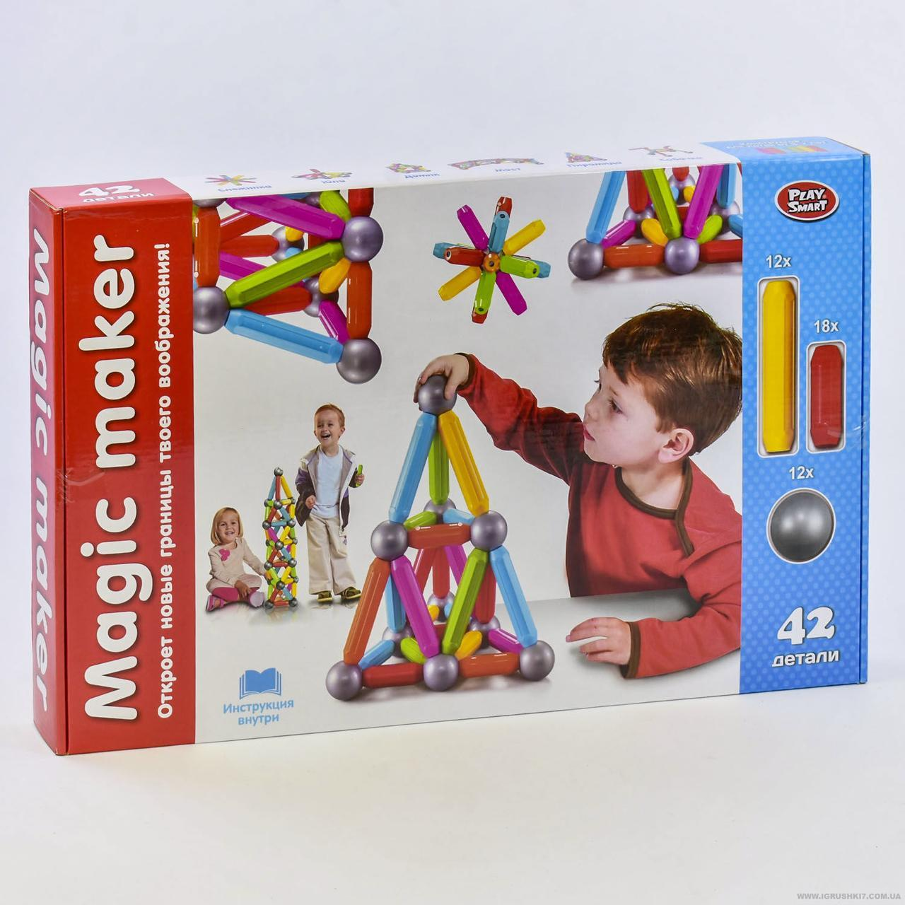 Конструктор Play Smart 2444 -  магнитный (42 дет.)