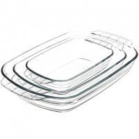 Набор стеклянных противней из жаропрочного стекла 3 шт 0,5/1/2л прямоугольные FIREX (236709)