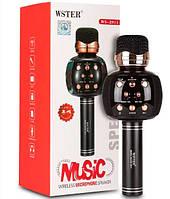 Беспроводной караоке микрофон с динамиком 5 тембров голоса WS-2911 USB AUX FM черный
