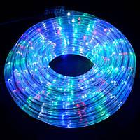Светодиодная LED новогодняя гирлянда прозрачный силиконовый шланг 9.8 м Дюралайт мульти цвет