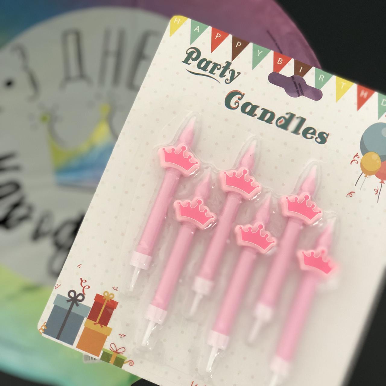 "Свічки в торт ""Корона"", 6 шт, рожеві, Набор свечей в торт ""Корона"""