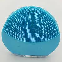 Масажер силіконова щіточка для чистки особи акумуляторний UKC Форео Luna Mini блакитний