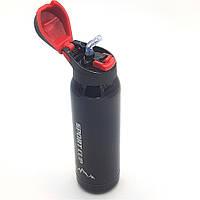 Пляшка термос для води напоїв з трубочкою поїлкою спортивна сталева 500 мл Green Life чорно-червона