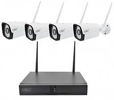 Комплект видеонаблюдения беспроводный WiFi 4ch набор на 4 камеры DVR KIT CAD Full HD UKC 8004