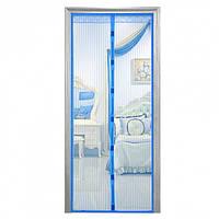Антимоскитная штора на дверь сетка на магнитах москитная Magic Mesh 200 х 100 см синяя