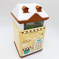 Копилка детский сейф с кодовым замком отпечатком пальца и купюроприемником для бумажных денег и монет UKC Домик желтый
