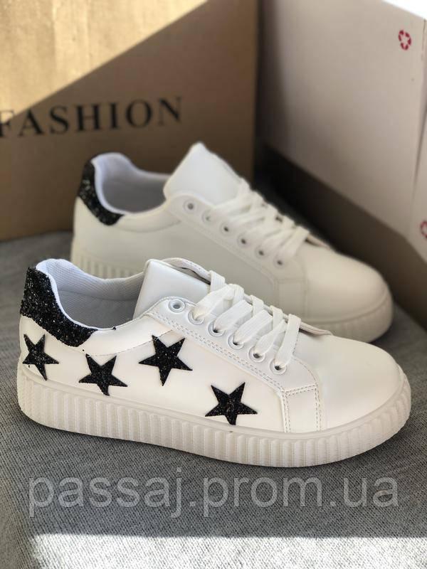 Белые кроссовки, кеды в черные звёзды, женские мокасины