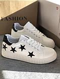 Белые кроссовки, кеды в черные звёзды, женские мокасины, фото 5