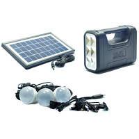 Набор освещения аккумуляторный фонарь солнечная батарея и 3 LED лампочки Gdlite GD-8017A