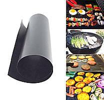 Антипригарный тефлоновый коврик для гриля 33х40х0.2 см гриль мат BBQ grill sheet черный