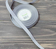 Лента репс в  горох 1,2 см. серый, фото 1