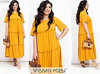 Воздушное длинное платье женское с двусторонними оборками (5 цветов) LA/-008 - Горчичный, фото 1
