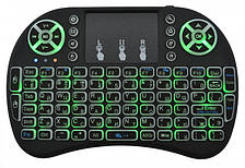 Беспроводная клавиатура с тачпадом аккумуляторная русская и английская раскладка Подсветка 3 цвета Rii mini i8 2.4G
