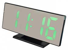 Дзеркальні електронні LED годинник настільні з зеленим підсвічуванням і термометром UKC DS-3618L чорний