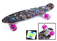"""Пенни борд с рисунком и светящимися колесами мини скейт Penny Board """"Hipster"""""""