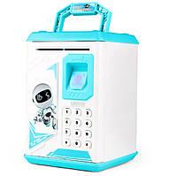 Копилка детский сейф с кодовым замком отпечатком пальца и купюроприемником для бумажных денег и монет UKC голубой