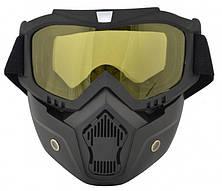 Маск трансформер защитная для лыжников сноубордистов и велосипедистов универсальная желтая