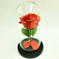 Роза в стеклянной колбе с LED подсветкой 20 см романтический подарок красная