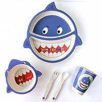 Детская бамбуковая посуда набор из 5 предметов Акула
