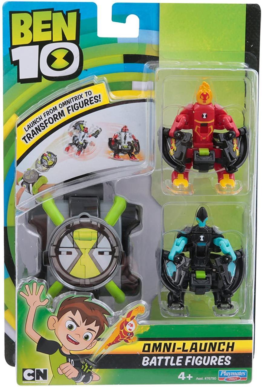 Часы Бен Тен и 2 фигурки трансформеры, Ben 10 Оригинал Пусковое устройство-Космические часы - Омнитрикс