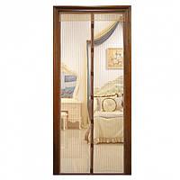 Антимоскитная штора на дверь сетка на магнитах москитная Magic Mesh 200 х 100 см Коричневая