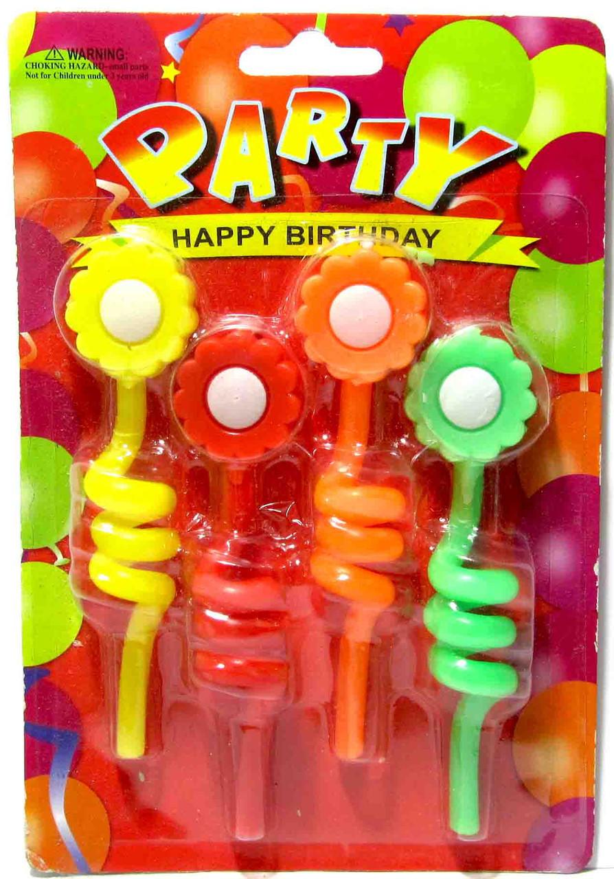 "Свічки в торт ""Ромашка на спіралі"", 4 шт, Набор свечей в торт ""Цветочек"""