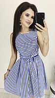 Красивое котоновое платье в полоску электрик/белая полоска