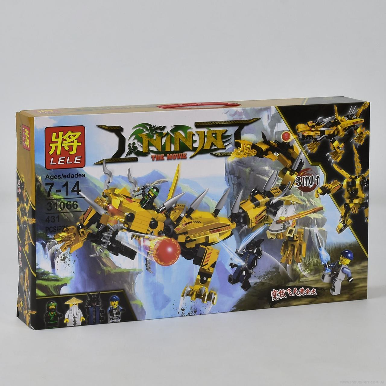 Конструктор LELE 31066 НИНДЗЯ -  Желтый робот Ниндзя (431 дет.)