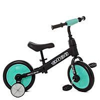 Беговел-велосипед 2в1 PROFI KIDS 12 дюймов M 5452-3 цвет черный с голубым