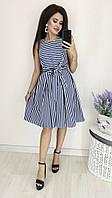 Красивое котоновое платье в полоску темно-синий/белая полоска