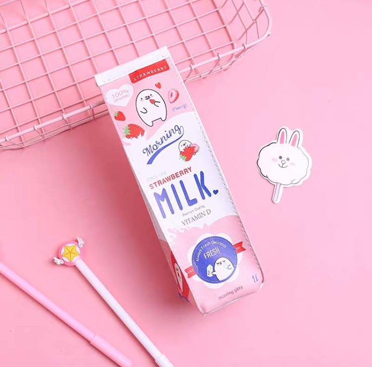Пенал школьный детский для мальчиков и девочек (розовый) «Milk» в форме коробки для молока