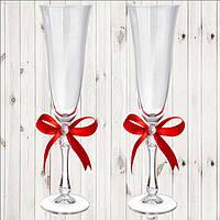 Свадебные бокалы, 2 шт, красный бант (арт. WG-000002-16)