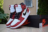 Мужские кроссовки в стиле Nike Air Jordan 1 Retro, кожа, белые с красным и черным 41 (26 см)