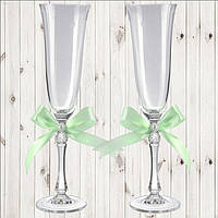 Свадебные бокалы, 2 шт, мятный бант (арт. WG-000002-20)
