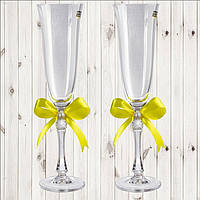 Свадебные бокалы, 2 шт, желтый бант (арт. WG-000002-22)