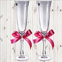 Свадебные бокалы, 2 шт, пудровый бант (арт. WG-000002-25)
