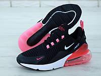 Кроссовки женские Nike Air Max 270 черные с розовым ТОП реплика