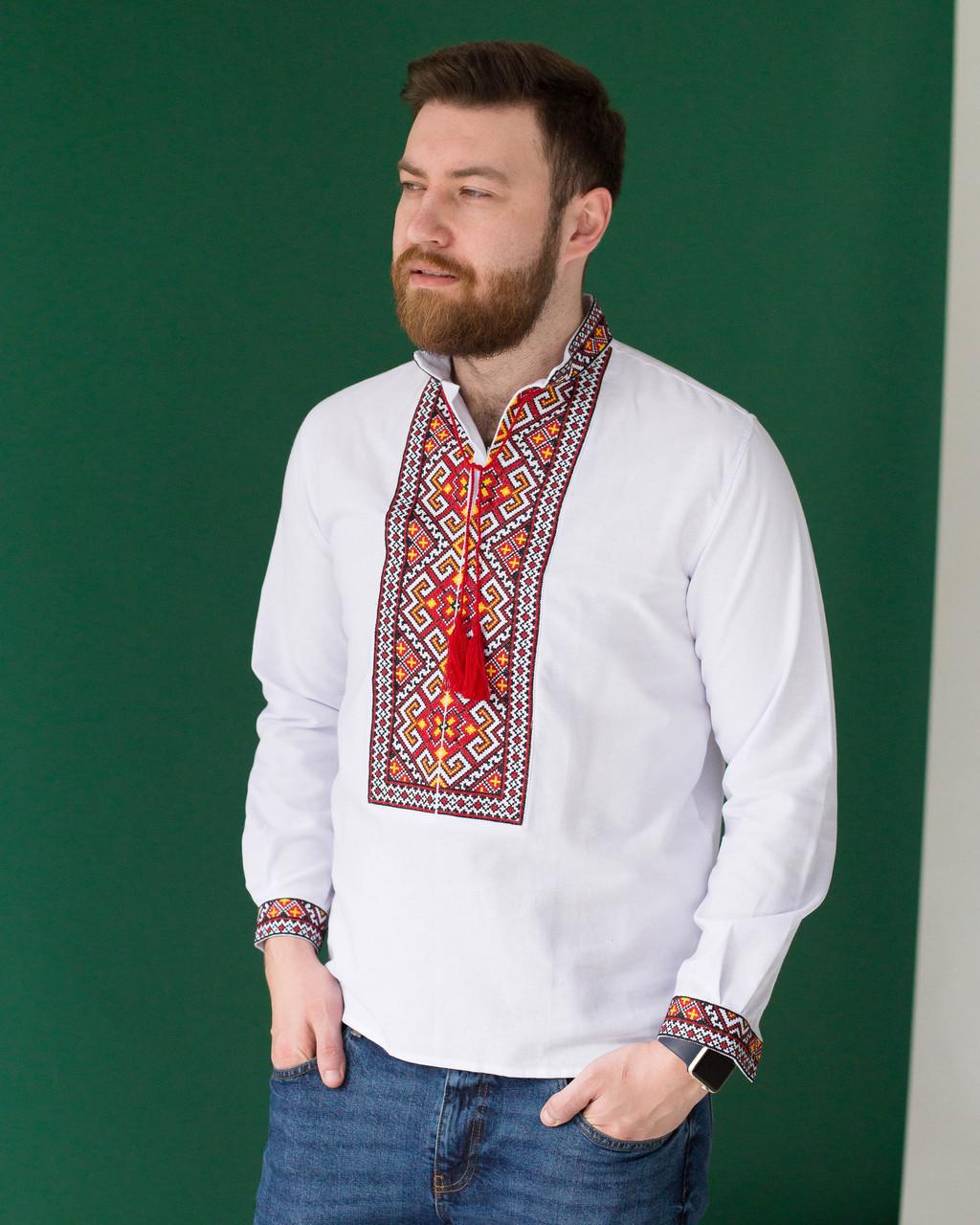 Чоловіча сорочка з червоною вишивкою Мирослав