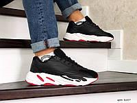 Мужские кроссовки в стиле Adidas Yeezy Boost 700, кожа, замша, пена, черные с белым и красным 46 (29,2 см)