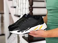Мужские кроссовки в стиле Adidas Yeezy Boost 700, кожа, замша, пена, черные с белым и желтым 45 (28,5 см)