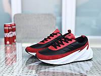 Мужские кроссовки в стиле Adidas Sharks, кожа, замша, пена, черные с красным и белым 45 (29,2 см)