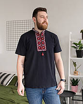 Трикотажна чоловіча футболка з червоним орнаментом, фото 3