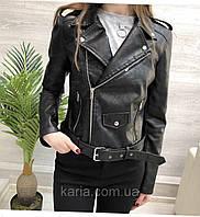 Женская кожаная черная куртка косуха новинка 2020