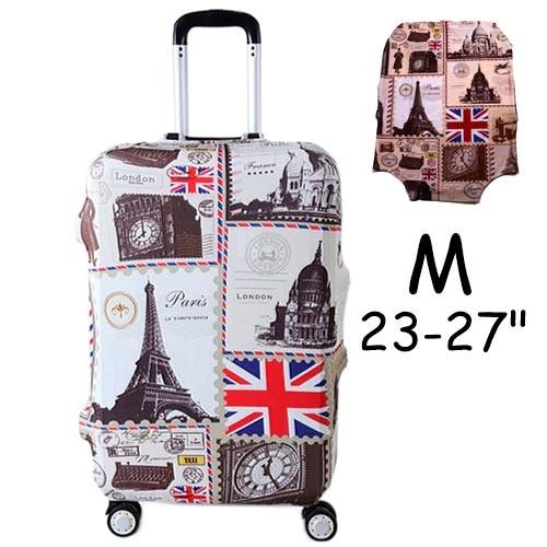 """Чехол для дорожного чемодана на чемодан защитный 23-27"""" M, London-Paris"""