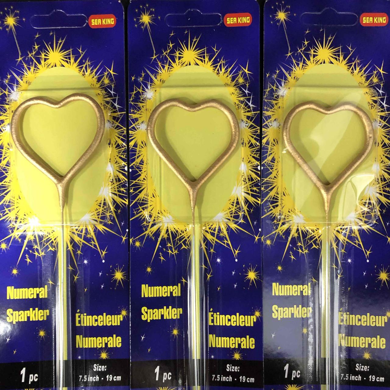 """Свічка бенгальська """"Серце"""", золото, Свеча бенгальская """"Сердце"""""""