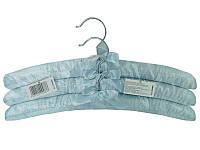 Голубые сатиновые плечики 385мм с бантиком